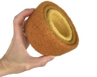Bols de nidification feutrine décoration feutrée ensemble de trois jaune moutarde citrouille Orange tricoté en laine feutrée bureau organisateur rangement cadeau d'hôtesse