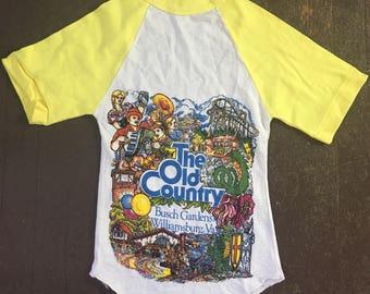 """DEADSTOCK 70s """"The Old Country"""" Busch Gardens soft cotton souvenir tee"""