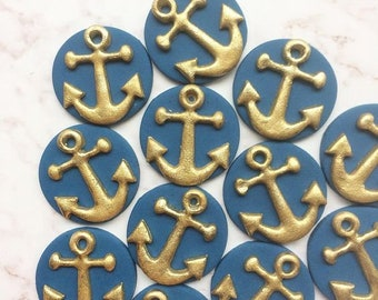 12 Anchor fondant cupcake toppers - Nautical party - Nautical Wedding - Nautical Birthday - Nautical cupcake toppers - Nautical Baby Shower