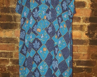 Ladies Size UK 16 18 Vintage 1980's Blue Floral Print Neck Tie Swing Shirt Dress