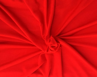 Modal Lycra Fabric Jersey Knit by the Yard Christmas Red 4 Way Stretch 1/4/18
