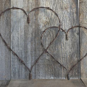 """Set of two, Rustic Heart, Barbed wire heart, Barb wire, Country Charm meets Shabby Chic, A Piece of the """"Old West!"""" Primitive metal art."""