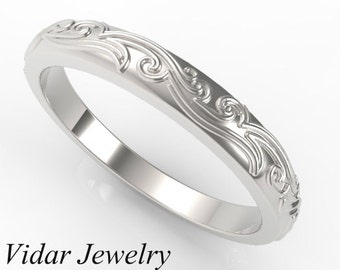 Leaves Engraved Wedding band,Unique Vintage Ring Design,14k White Gold Wedding Band,Womens Wedding Band,