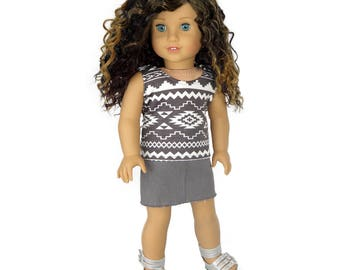 Fits Like American Girl Doll Clothes.  Grey Tribal Tank Top and Frayed Skirt.