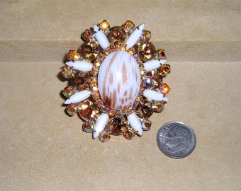 Vintage Juliana Iridescent Rhinestones And Ventian Copper Fluss Brooch Exceptional 1960's Jewelry 11013