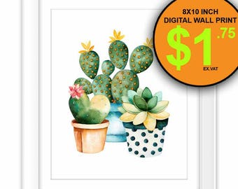 Watercolor Cactus Wall Art Print, 8x10 Inch, Instant Download, Digital Print