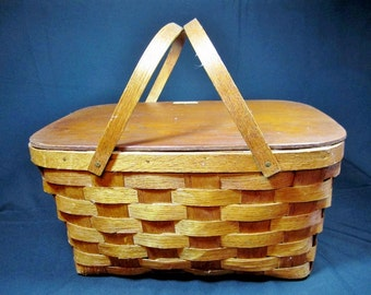 PICNIC BASKET / Splint Woven WOOD / Vintage