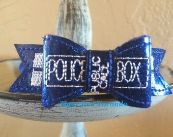 Police Box Glitter Removable Bow
