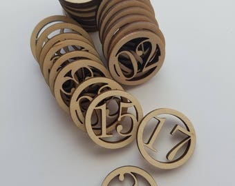 Calendar Circle Number Wooden Cut Outs ( Number Ornaments, Holiday Decor, etc..)