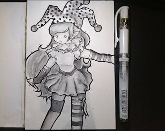 """Drawlloween original art """"Clown"""" (postcard)"""