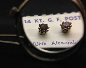 Vintage 1960's 14Kt GF Post Birthstone Earrings - JUNE (ABX1D)