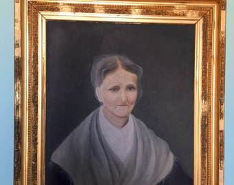 Antique late 19c Oil Painting on canvas Portrait of a Woman unsigned folk art Granma Moses