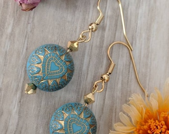 Turquoise and gold heart etched beaded earrings, turquoise jewelry