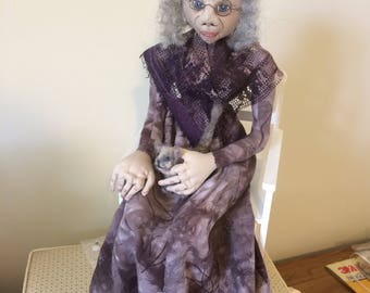 OOAK doll, old lady in rocking chair with cat,cloth art doll,soft sculpture, fibre art,what the elf doll