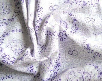 vintage purple floral fabric patchwork fabric french fabric antique lilac floral fabric vintage french fabric 197