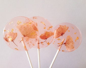3 Natural Cherry Blossom And Edible 24k Gold Leaf Flakes Wedding Celebration Favors Lollipops