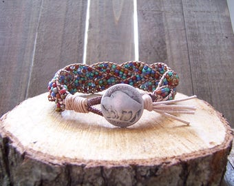 Silver Buffalo Nickel Beaded Braided Leather Wrap Cuff Bracelet, Buffalo Bracelet, Buffalo Jewelry, Leather Jewelry, Buffalo Nickel Jewelry