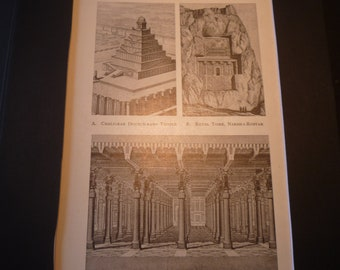 Iran Ancient Palace of Persepolis Architecture Plans - 1924 print - Great for Framing - gift for architect temple tomb
