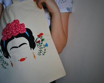 Frida bag, Frida handbag, Frida canvas bag, Frida shopping bag, Frida tote bag, Frida lover gift, Frida art, Frida Kahlo shopper
