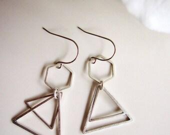 Silver Triangle Earrings, Silver Geometric Jewelry, Silver Hexagon, Art Deco Earrings, Double Triangle, Pyramid Earrings, Modern Earrings