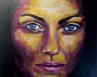 Acrylic custom portrait / modern colorful art / acrylic on canvas / modern painting / modern canvas art / portrait commission art / dark art