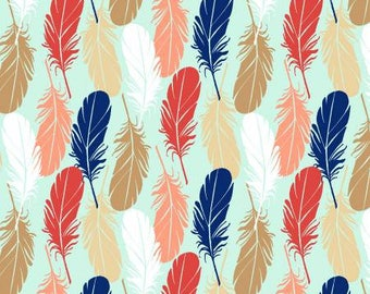 Pachua -Mint Feathers  -3 Wishes-Cotton Fabric- Quilt- Apparel-WindyRobinCotton- *Sold in Half Yard.