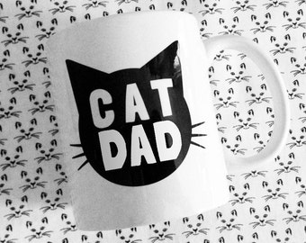 Cat Dad Ceramic Coffee Mug - 11oz - made in the USA - Funny Text Great Gift For Cat Lovers - Gift for Him under 15