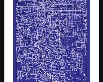 Syracuse etsy syracuse new york street map vintage print poster blueprint malvernweather Gallery