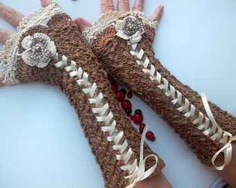 Crocheted Cotton Gloves Ready To Ship Victorian Fingerless Summer Women Wedding Lace Evening Retro Hand Knitted Party Opera Brown Corset B36