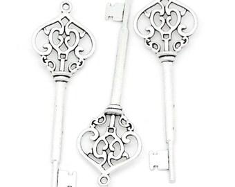Key Charm/Pendant - Set of 4 - Antique Silver - #MH232