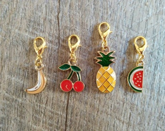 Progress keepers, planner charms, travelers notebook charm. Enamel fruits. Set of 2