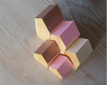 Happy Little Neighborhood - Wood Houses - Rose Gold Rose & Mother of Pearl - Waldorf - Village - Wooden Toy - Creative Play - Wood House