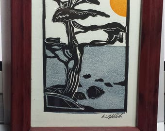 Letterpress Hand Carved Woodblock Print California Cypress. Framed in a freshly distressed frame.