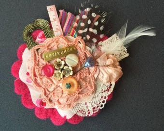 Pink Stitcher Jacket Brooch