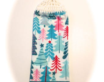 Blue, Pink, And Red Christmas Trees Hand Towel With White Crocheted Top