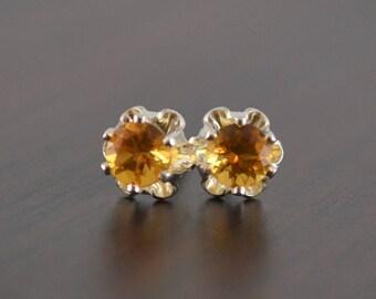 Citrine Earrings, Stud Earrings, Child or Teen, Genuine Gemstone, Flower, 4mm Stone, Sterling Silver Post, November Birthstone Jewelry