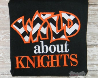 Wild About Knights Embroidered Shirt or Bodysuit in Black, White & Orange