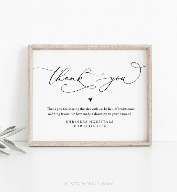 In Lieu of Favors Template, INSTANT DOWNLOAD, 100% Editable, Printable Wedding Donation Sign, Thank You, Charity Card, 5x7 & 8x10 #CHM-01