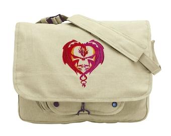 Dragon Love Embroidered Canvas Messenger Bag