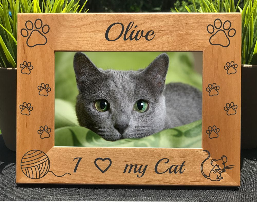 I Love my Cat // Personalized Engraved Photo Frame // Cat Lover ...
