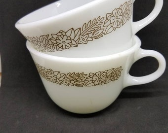 Vintage Pyrex milk glass coffee cups, Woodland Brown Flower pattern. Set of 2.