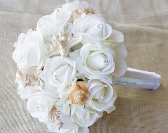 Wedding Natural Touch Seashells and Ivory Roses Silk Flower Bride Bouquet - Almost Fresh