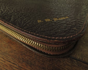 Leather Portfolio Zipper 1950s Vintage Brown Leather Business File Gold Embossed Document Holder