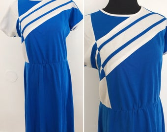 Vintage 1980s Cotton Blend Blue and White Dress - 1980s Blue and White Elastic Waist Dress - 1980s Vintage Summer Dress