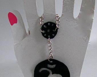 Om Recycled bike tire ring/bracelet, Upcycled inner tube Om Yoga bracelet, Om repurposed inner tube Harem bracelet
