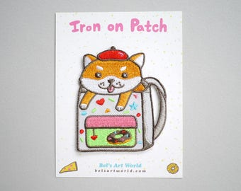 Puppy Backpack - shiba inu puppy - Iron On Patch