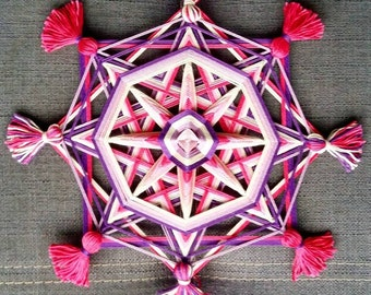 Ojo de Dios Eye of God Yarn Mandala Pink, Created by a Reiki Master Teacher.