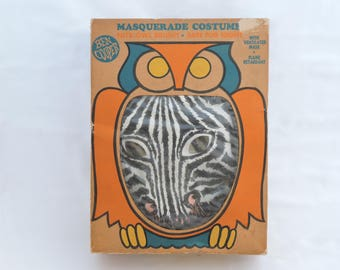 Vintage 1950s Ben Cooper Zebra Masquerede Costume - Kids Halloween Dress Up Costume - Mask and Costume in Original Box