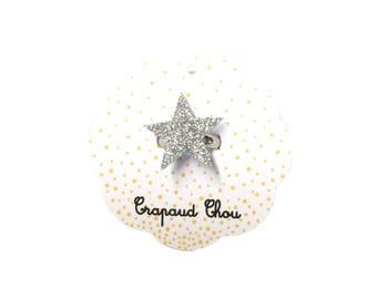 Silver glitter star ring