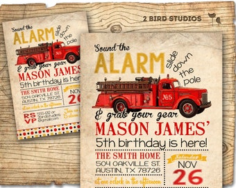 Firetruck birthday invitation for firetruck birthday party -  Vintage Firetruck invitation - DIY printable fire engine invitation